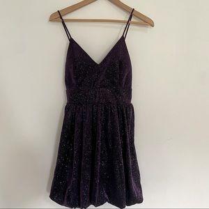 Lovely Day Metallic Glitter Mini Purple Dress
